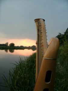 harp en zonsondergang